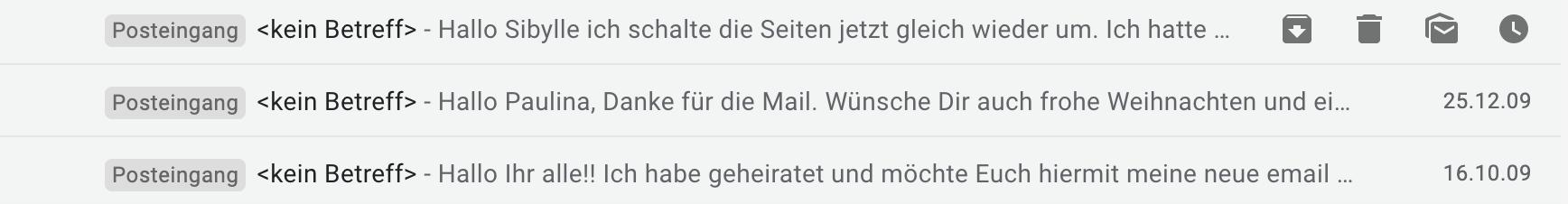 E-Mails ohne Betreff erschweren die Zuordnung.