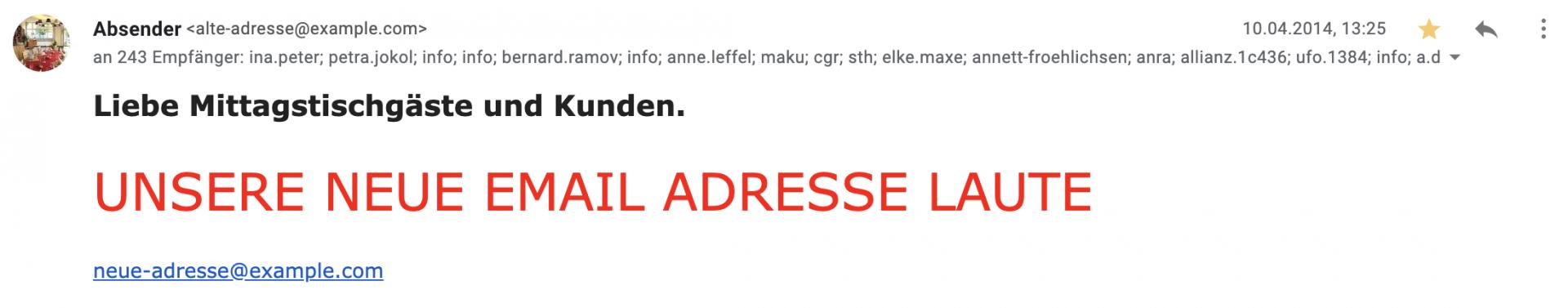 Eine Beispiel E-Mail für eine furchtbare Rundmail mit öffentlich sichtbaren Empfängern im CC.