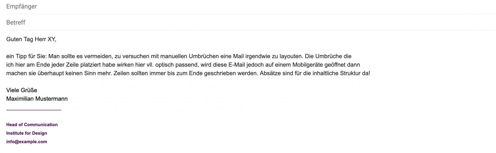 Vermeiden Sie layoutvesuche mti manus.ellen Zeilenumbrüchen in Ihren E-Mail